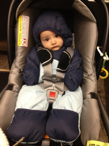 Wearing one of his snowsuits for the frigid 16 degree weather!
